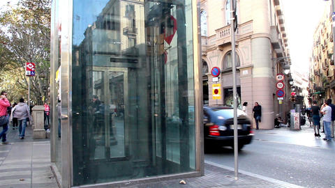 Transparent elevator lift telephone booth Footage