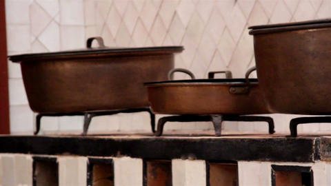 Pot Of Different Sizes Set Of Brown Pots stock footage