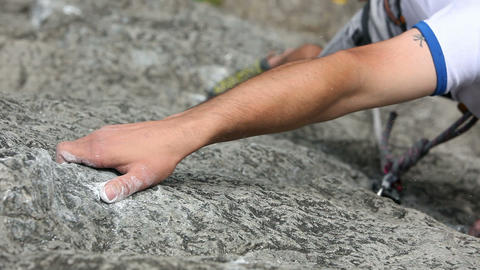 Close Up Of A Hand Of A Man Rock Climbing In Natur stock footage