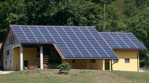 Solar Power Station On The House Near Forest stock footage
