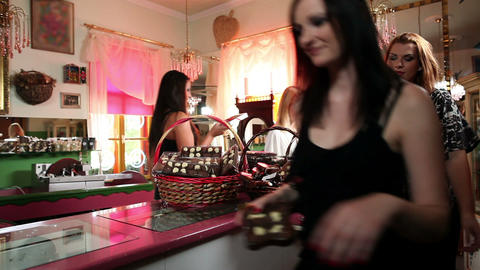 Girl Friends In A Chocolate Shop stock footage