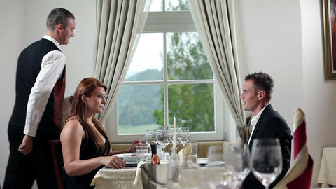 Young Couple Having Romantic Lunch Inside Beautifu stock footage