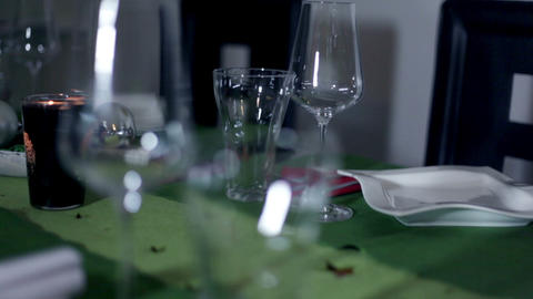 Detail Of Beautifully Decorated Table For Special  stock footage