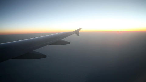 Sunrise While Flying With Airplane In Mid Air stock footage