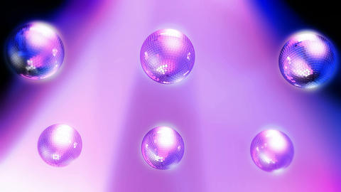 Six Rotating disco balls with reflected lights. Seamless loop Animation