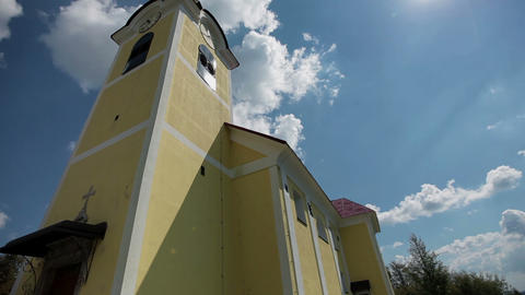 Tilt Shot Of A Small Church In A Small European Vi stock footage