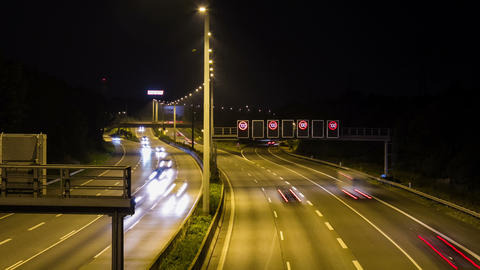 3K Highway by night with cars and trucks - DSLR do Footage