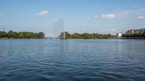 Hamburg alster lake with tourist ships - DSLR time Footage