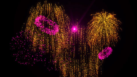 Gold & Pink Fireworks stock footage