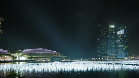 SINGAPORE - CIRCA DEC 2013: Night view of the Gulf Footage