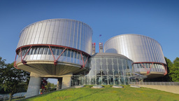 4K European Court Of Human Rights In Strasbourg stock footage