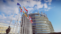 4K European Parliament building in Strasbourg Footage