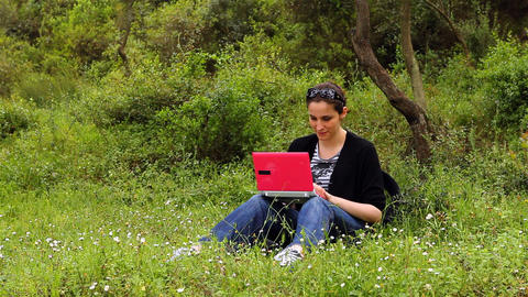 beautiful girl using computer in countryside 2 Footage