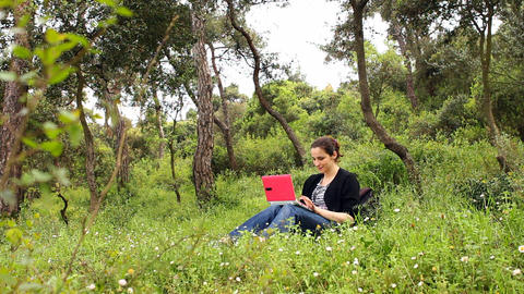 beautiful girl using computer in countryside Footage