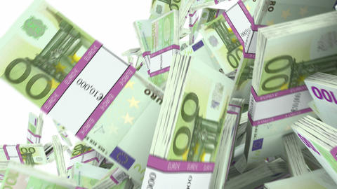 Y-shaped 100 Euro Bundles Flow With Slow Motion. Wealth And Money stock footage