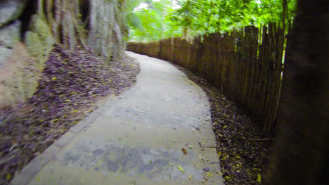 Traffic On Concrete Path Along The Rocks And Bambo stock footage