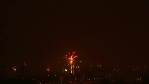 Time-lapse of New-Year switch fireworks over the city 2 Footage