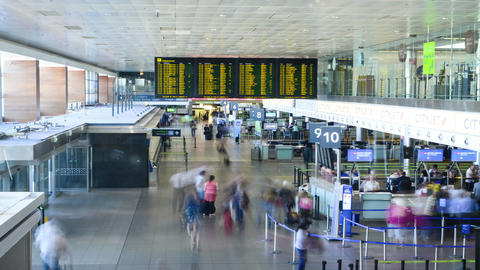 People At Airport Terminal Time Lapse. 4K stock footage