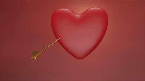 Golden arrow piercing heart Animation