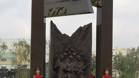 The opening of the monument to Soviet soldiers in  Footage