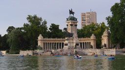 Alfonso XII Monument and Lake in Retiro Park in Ma Footage