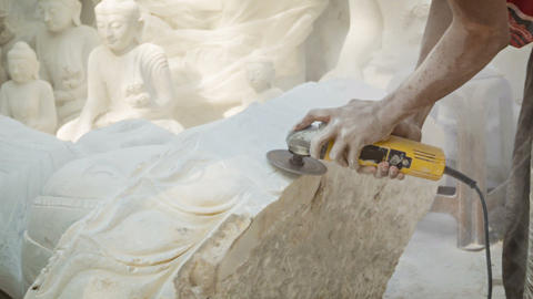 Processing Marble Buddha Statue In The Workshop stock footage