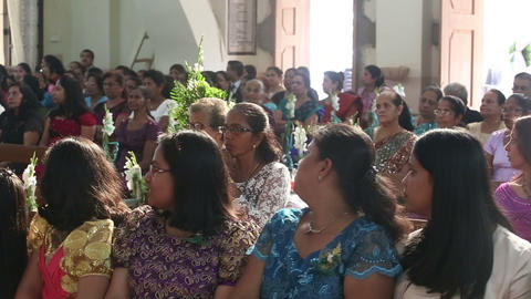 Women sit on wedding ceremony in church Footage