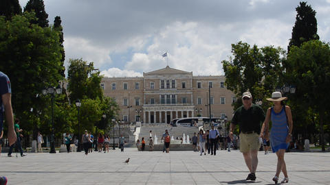 Syntagma Square And Parliament Building In Athens, stock footage