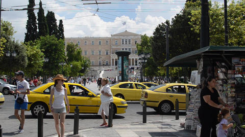 Syntagma Square And Parliament Building in Athens, Footage