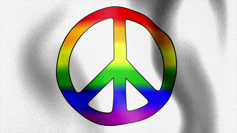waving flag rainbow peace sign Animation