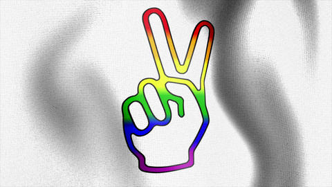 rainbow victory sign white waving flag Animation