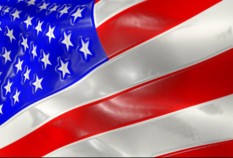American Flag Animation Close Up With Shine Effect stock footage