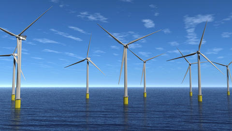 Windfarm Flyby Animation HD CG動画素材