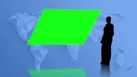 Silhouette Of Businesswoman Presenting Chroma Key stock footage