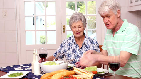 Senior Couple Having Healthy Lunch stock footage