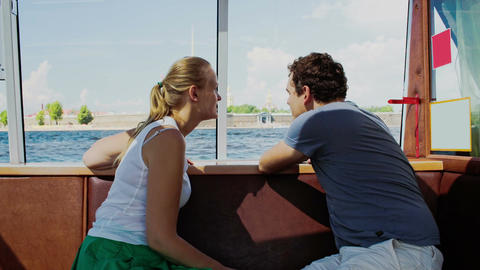 Young Couple Traveling By Touristic Boat stock footage