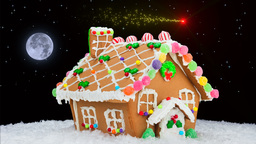 Gingerbread House And Shooting Star stock footage