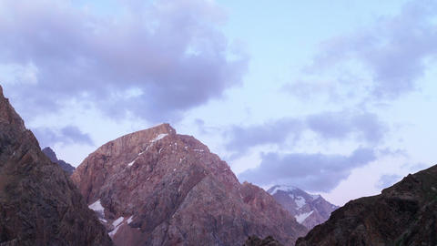Clouds Over Mountains. Zoom. Time Lapse. Pamir, Ta stock footage