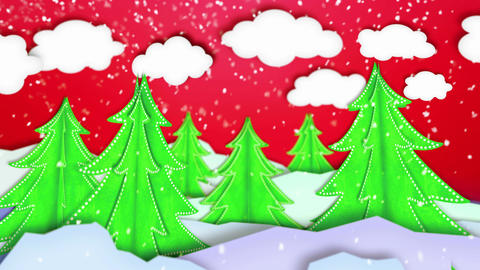 Winter Landscape Paper Scene Loop Animation Red -  stock footage
