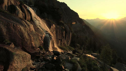 Waterfalls At Sunrise stock footage