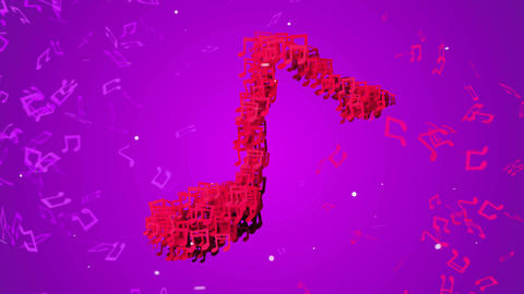 Red Musical Note Particles Loop Animation VJ Purpl Animation