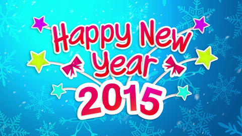 Happy New Year 2015 Greeting Art Paper Card - 4K R Animation