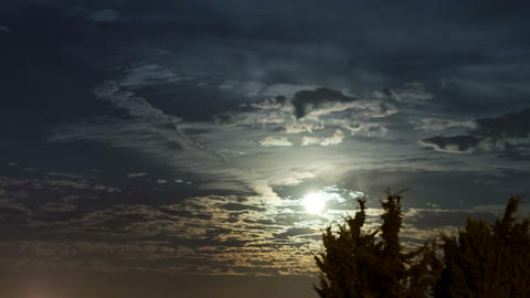 4K Full Moon Of September (Harvest Moon) And Clouds Time Lapse stock footage