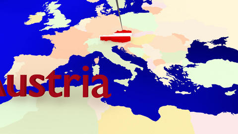 Worldmap Zooms To Austria stock footage