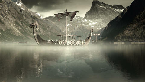 Viking Ships On Nordic Sea, Epic FullHD, VisualFX stock footage