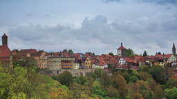 Rothenburg On Tauber Cityscape Above The Forest, C stock footage