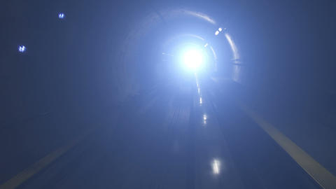 Moving Train In Subway Tunnel, Cabin View stock footage