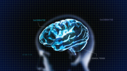 Blue Head Brain With Code stock footage