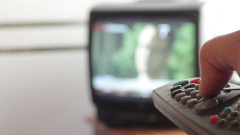 Remote Control Small TV stock footage