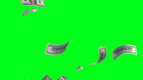 4k.Flying Banknotes Of Dollars. Isolated Over Gree stock footage